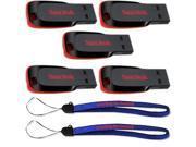 SanDisk Cruzer Blade 4GB (5 pack) USB 2.0 Flash Drive Jump Drive Thumb Drive SDCZ50-004G-5PK w/ (2) Everything But Stromboli (TM) Lanyard