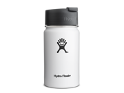 Hydro Flask 12 oz Vacuum Insulated Stainless Steel Water Bottle Wide Mouth w Hydro Flip Cap White