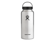 Hydro Flask 32 oz Vacuum Insulated Stainless Steel Water Bottle, Wide Mouth w/Flex Cap, Stainless
