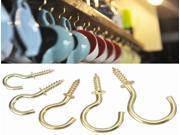 20pcs Brass Plated Cup Mug Hooks Shouldered Screws Hanging Hat Coat Peg Hanger 9SIV0Z65DE8092