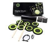 Portable Electronic Roll Up Drum Kit Foldable Drum Set Built in Speaker With Drum Sticks Foot Pedals 7 Drum Pads Headphone Jack For Practice Starters Kids