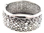 MARC & IVY WIDE ORNATE STAINLESS STEEL HINGED BANGLE
