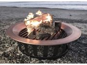 "Titan 40"" Solid 100% Copper Fire Pit Bowl Wood Burn Patio Frontgate Deck Grill"