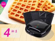 ZZ S6141A-B 4 in 1 Breakfast Waffle Omelette and Sandwich Maker with 4 Sets of Detachable Non-stick Plates - Black