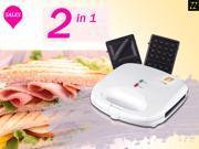 ZZ S6142B-W 2 in 1 Waffle and Sandwich Maker - White