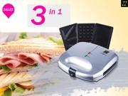 ZZ S6142-S 3 in 1 Sandwich Waffle and Breakfast Maker with Non-stick Plates - Silver