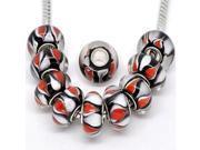 Pack of 10 Red white black MIX Lampwork Murano Glass Beads For Snake Chain Charm Bracelet. 9SIAAGR4299596
