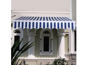 Manual Patio 6.4'×5' Retractable Deck Awning Sunshade Shelter Canopy Outdoor Stripe Blue & White