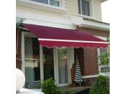Manual Patio 8.2'×6.5' Retractable Deck Awning Sunshade Shelter Canopy Outdoor Burgundy