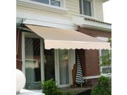 Manual Patio 8.2'×6.5' Retractable Deck Awning Sunshade Shelter Canopy Outdoor Beige