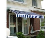 Manual Patio 8.2'×6.5' Retractable Deck Awning Sunshade Shelter Canopy Outdoor Stripe Blue & White