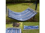 Double Size Hammock Quilted Fabric With Pillow Spreader Bar Hang Bed Heavy Duty