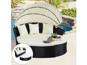 Outdoor Patio Sofa Furniture Round Retractable Canopy Daybed Black Wicker Rattan
