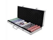 Costway 500 Chips Poker Dice Chip Set Texas Hold'em Cards W/ Silver Aluminum Case 9SIAAH767V2698
