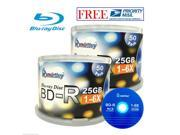 100 Pcs SmartBuy Blank BD-R BDR 6X 25GB Logo Top Blu-ray Recordable Media Disc