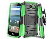 Advanced+Armor+Hybrid+Kickstand+Case+with+Holster+for+LG+K3+-+Black+Green