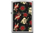 Zippo Satin Chrome Roses Hearts Skulls Windproof Pocket Lighter 205CI018416