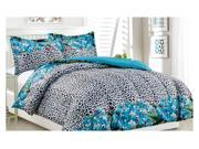 Image of 3 Piece Mini Bed Set - Queen Size - Teal Leopard