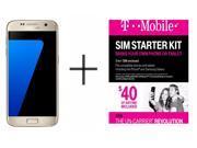 Samsung Galaxy S7 G930F 32GB GSM 4G LTE Octa-Core Phone w/ 12MP Dual Pixel Camera - Gold + T-Mobile $40 SIM Kit