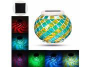 Solar Power Mosaic Glass Ball Garden Patio Color Changing Outdoor Lawn LED Light