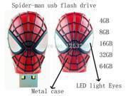 Pen drive Cartoon Mini Spider Man USB Flash Drive4GB 8GB 16GB 32GB 64GB Cute Spiderman Shape with LED Light USB Memory Stick 9SIAAWS48P2952
