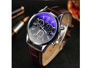 Hot 2017 ly Designed 1PC Luxury Luxury Fashion Faux Leather Mens Blue Ray Glass Quartz Analog Watches relogio masculino 607 9SIAAWS7183336