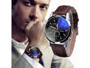 Watch Men Watches relogio masculino Top Brand Luxury Fashion Faux Leather Mens Blue Ray Glass Quartz WristWatches Business Clock 9SIAAWS7182669