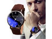 Relogio Masculino watches men luxury brand 2018 Fashion Faux Leather Men Blue Ray Glass Quartz Analog Watches Casual Cool Watch 9SIAAWS7184402