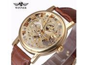 2017  Hot Sale Skeleton Fashion Mechanical Men Watch Winner Luxury Branded Business Leather Strap Wristwatch CLASSIC GOLD 9SIAAWS7185124