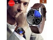 Splendid  Luxury Fashion Faux Leather Men Blue Ray Glass Quartz Analog Watches Casual Cool Watch Brand Men Watches 2016 9SIAAWS7182557