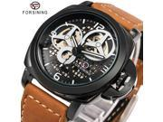 FORSINING  Black Men's Skeleton Watch Italy Antique Brown Genuine Leather Strap Auto Skeleton Military Mechanical Wristwatch 9SIAAWS7184546