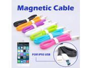 1M 3FT 8 Pin Magnetic Flat Noodle Data Sync Charger Charging USB Cable for iPhone 6 4.7 Plus 5.5 5S 5C 5 for iPad Air