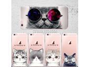 Cute Cat with Glasses Pattern Case Cover For iphone 6 6S Transparent Soft Silicone Cell Phone Cases 9SIAAWS5C59114