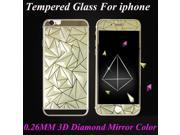 Front+Back 3D Diamond Mirror Color Tempered Glass Screen Protector Film Phone Cases for Iphone 4 4S 5 5S 6 6S 6Plus 6Splus Case 9SIAAWT48Y9955