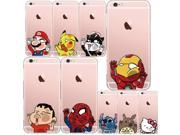 Crystal Cartoon Totoro Spiderman Doraemon Hello Kitty Soft Transparent Phone Case Back Cover Coque for Apple iPhone 6S 6 6Plus 9SIAAWS5C60473
