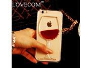 LOVECOM For iPhone 4 4S 5C 5 5S SE 6 6S 6Plus 6SPlus Liquid Quicksand Red Wine Glass transparent Phone Case hard back Cover 9SIAAWS5C59246