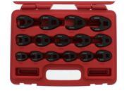 """ABN® Jumbo Crowfoot Flare Nut Wrench Set Metric 15pc for 3/8"""""""" 1/2"""""""" Drive Ratchet"""" 9SIAAYJ54X4515"""