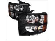 Spec-D Tuning 2LH-SIV07JM-RS Crystal Housing Headlights for 07 to 12 Chevrolet Silverado, Black - 20 x 17 x 19 in.