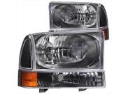 ANZO 111080 Ford Excursion Superduty Headlights With Corner Lights Black