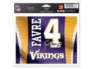 Wincraft 3208574017 5 x 6 in. Minnesota Vikings Brett Favre Jersey Color Ultra Decal 9SIV06W69Z4488