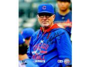 Schwartz Sports Memorabilia MAD08P117 8 x 10 in. Joe Maddon Signed Chicago Cubs Wearing Blue Manager Hoodie Photo with MOY15