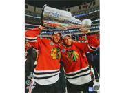 Schwartz Sports Memorabilia KAN16P410 16 x 20 in. Patrick Kane & Jonathan Toews Dual Signed Chicago Blackhawks 2015 Stanley Cup Trophy Photo 9SIV06W6GK6874