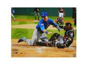 Schwartz Sports Memorabilia ZOB16P100 16 x 20 in. Ben Zobrist Signed Chicago Cubs 2016 World Series Home Plate Collision Photo