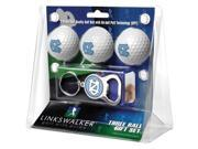 LinksWalker LW-CO3-NCT-3PKB North Carolina - University Of-3 Ball Gift Pack with Key Chain Bottle Opener