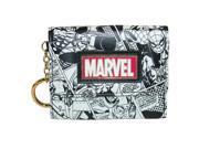 BioWorld Womens Marvel Comic Book Theme Mini Tri-Fold Wallet, Black and White