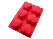Love Gift 6 Heart Shape Cake Muffin Baking Silicone Mold Lotion Bars Soap Moulds For Chocolate, Cake, Jelly, Pudding, Handmade Soap 9SIAAZM5R26794