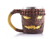 Creative 3D Bronze Skull Lava Monster Mug, Double Wall Resin Stainless Steel Drinking Coffee Cup, Horror Decor Magma Drinkware Caneca Copo Halloween Cool Gift 9SIAAZM5ZH9543
