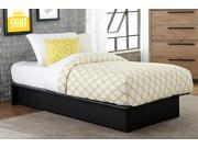 Maven Platform Bed in Soft Black Premium Faux Leather Upholstery, Twin Size