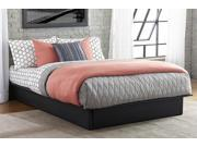 Maven Platform Bed in Soft Black Premium Faux Leather Upholstery, Queen Size