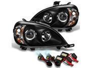 Mercedes Benz W163 ML320 ML430 M Class Projector Headlights Black +6000K Slim Ballast HID Xenon Kit 9SIAB1H4A23585